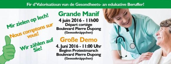 Webbanner Manif Santé FHL 4 Juni 2016 Update Geeseknaeppchen